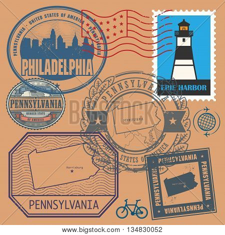 Stamp set with the name and map of Pennsylvania, United States, vector illustration