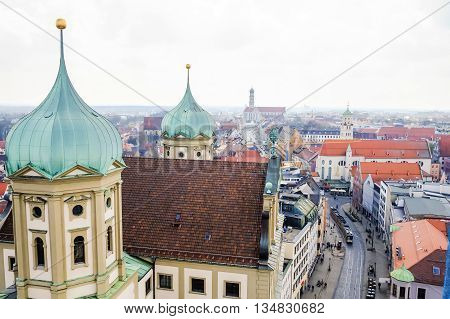 Augsburg, Germany skyline. Augsburg Germany old townscape.
