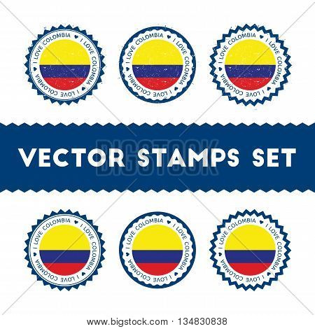 I Love Colombia Vector Stamps Set. Retro Patriotic Country Flag Badges. National Flags Vintage Round