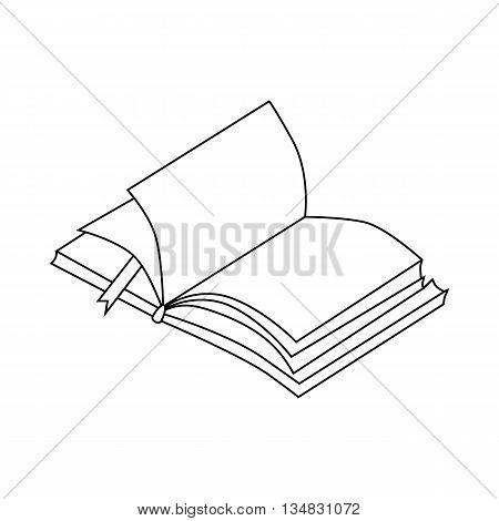 Book with bookmark icon in outline style isolated on white background. Reading symbol