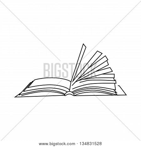 Book with turn over pages icon in outline style isolated on white background. Reading symbol