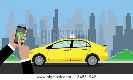 online booking taxi hand holding smartphone to book with taxi on the way as background vector graphic illustration