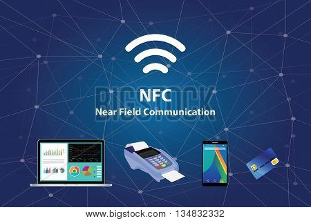 nfc near field communication with tools technology credit card smartphone laptop vector graphic illustration