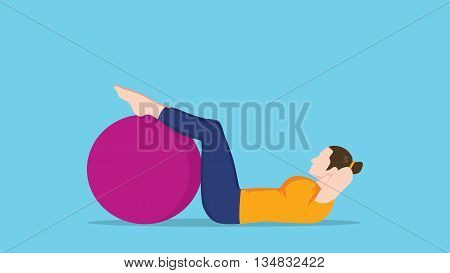women sit up use exercise ball vector graphic illustration