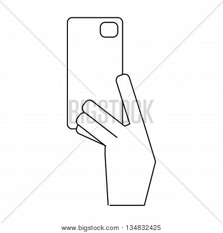 Hand holding phone icon in outline style isolated on white background. Communication symbol