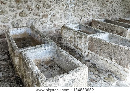 Old stone washing place in the mountain village Pina, Mallorca, Balearic Islands, Spain