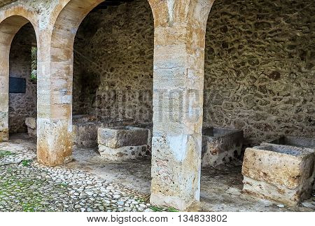 Ancient washing place in village Pina, Mallorca, Spain