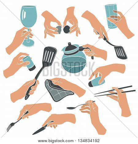 Cooking hands in flat stile isolated on white background. Woman hands holding kitchen items. Teapot glass knife spoon spatula salt.