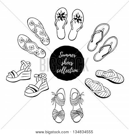 Hand drawn shoes collection. Summer flip flops flats and sandals isolated on white background. Vector illustration of beach footware.
