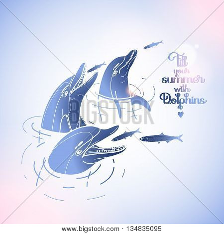 Graphic feeding dolphins. Dolphins in the water catching fish. Summer mood. Vector isolated art. Sea and ocean vector creatures in blue and pink colors