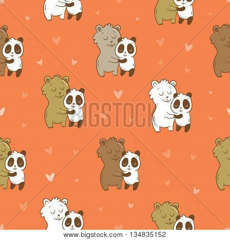 Seamless pattern with cute cartoon lovers bears and pandas on pink background. Valentine's Day. Children's illustration. Little funny animals. Vector image.