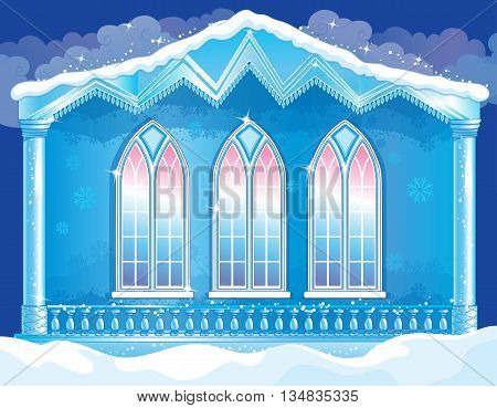 Vector illustration of fairytale facade of the ice royal palace