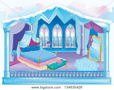 Vector illustration of fairytale interior of the ice room of the Snow Queen