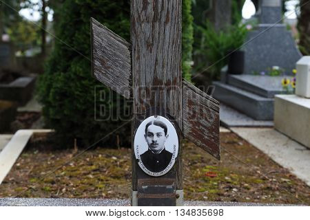 SAINT-GENEVIEVE-DE-BOIS, FRANCE - MAY 16, 2015: Cemetery St. Genevieve de Bois is the burial place of Russian immigrants: officers of the White Guard artists writers and poets.