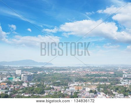 Aerial view at viewpoint of cityscape Phuket province Thailand.
