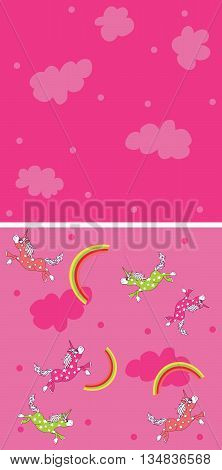 Magic Unicorn seamless pattern set with rainbow with companion