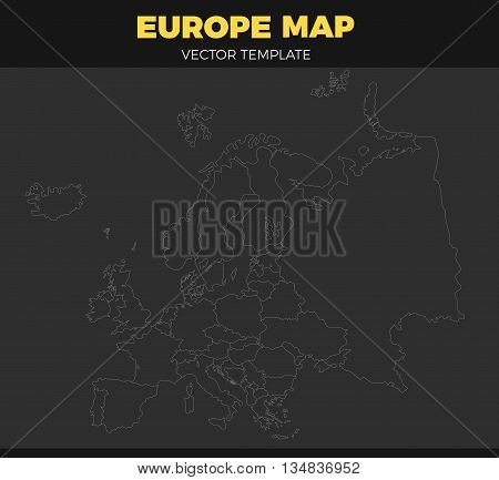 contour Europe map design Vector Illustration. Empty template without country names text. Isolated white contour on black background