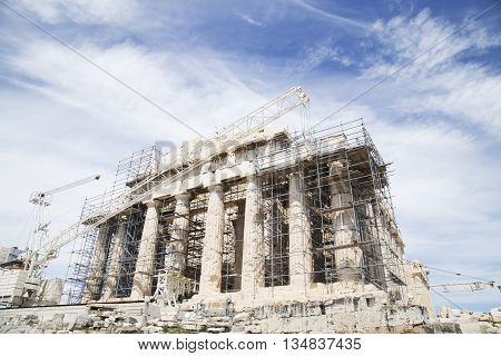 Restoration of the Parthenon on Acropolis Athens