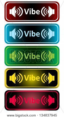 Clipart with color loudspeakers and an inscription vibe