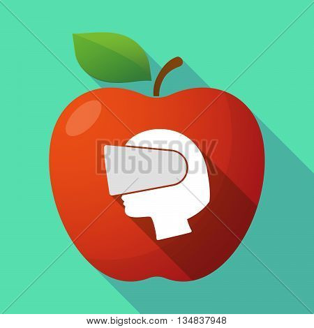 Long Shadow Red Apple Icon With  A Female Head Wearing A Virtual Reality Headset