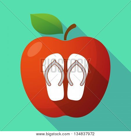 Long Shadow Red Apple Icon With   A Pair Of Flops