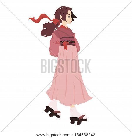 vector illustration of a japanese geisha kimono