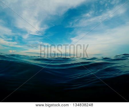 Natural water background, experimental color. Dark blue sea water look through