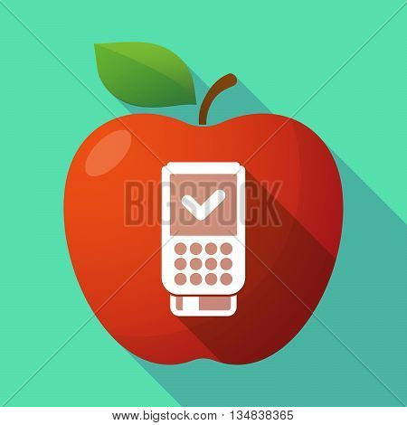 Long Shadow Red Apple Icon With  A Dataphone Icon