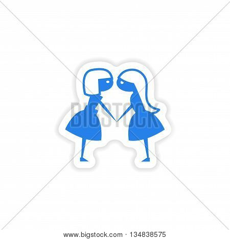 icon sticker realistic design on paper girlfriends