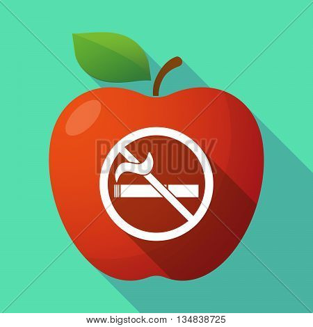 Long Shadow Red Apple Icon With  A No Smoking Sign