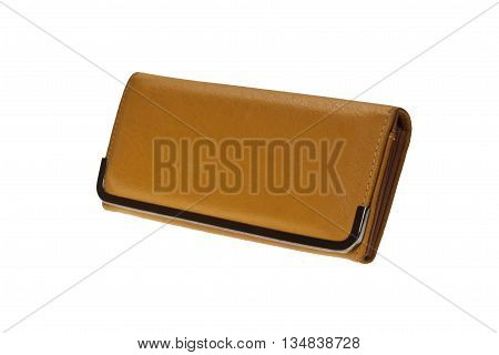 Woman yellow purse (wallet) isolated on the white background