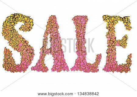 uneven multi-colored inscription Sale on a white background