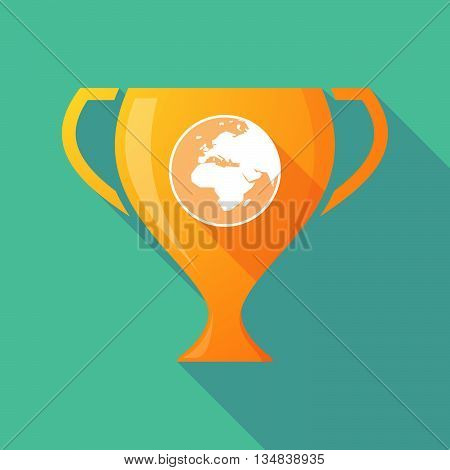 Long Shadow Award Cup Icon With   An Asia, Africa And Europe Regions World Globe