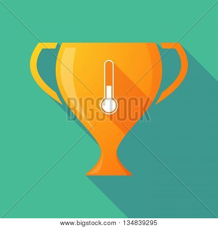 Long Shadow Award Cup Icon With  A Thermometer Icon