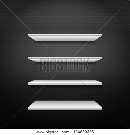 Gorizontal White Bookshelves On A Dark Walll With Lines Eps 10