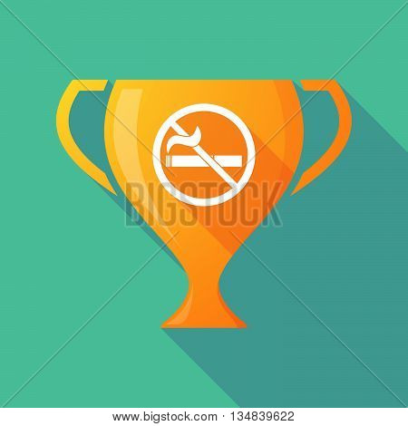 Long Shadow Award Cup Icon With  A No Smoking Sign