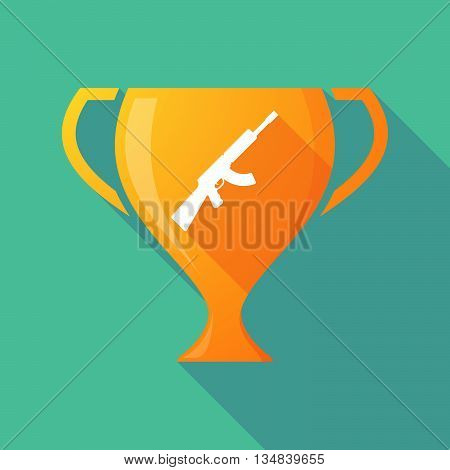 Long Shadow Award Cup Icon With  A Machine Gun Sign