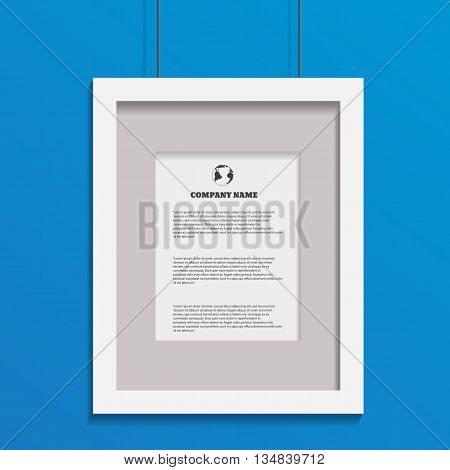 Photo Frame Art Image  On Blue Bg Design Eps 10 Vector
