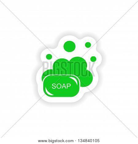 icon sticker realistic design on paper soap