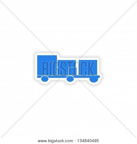 icon sticker realistic design on paper trailer freight logistics