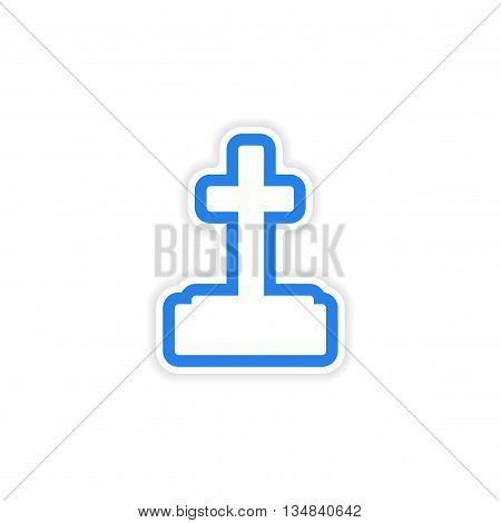 icon sticker realistic design on paper grave