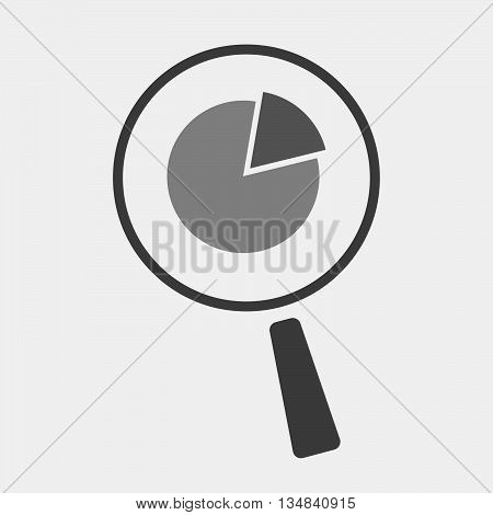 Isolated Magnifier Icon With A Pie Chart