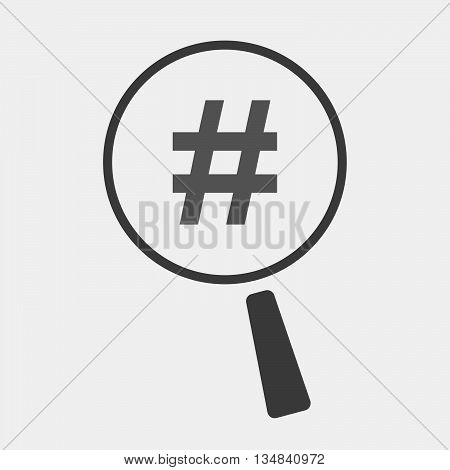 Isolated Magnifier Icon With A Hash Tag