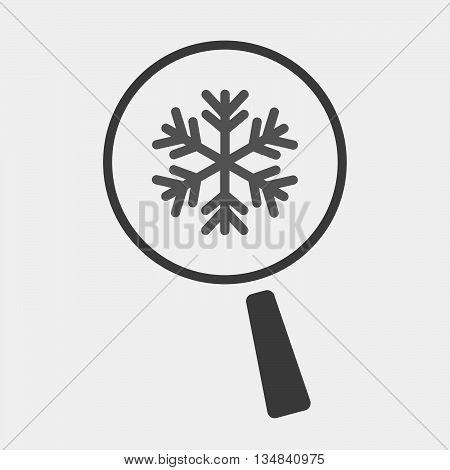 Isolated Magnifier Icon With A Snow Flake