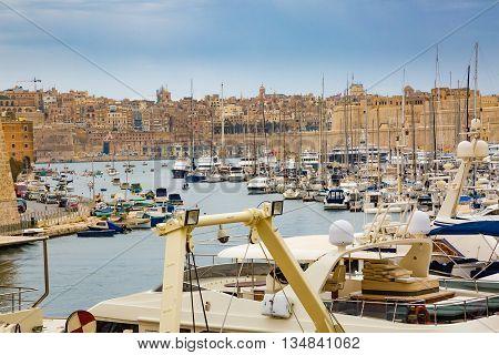 IValletta Malta - May 07 2017: In bay The Grand Harbor Tricity of Valletta Birgu and Senglea on the island Malta