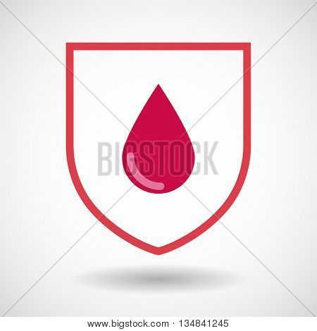 Isolated Line Art Shield Icon With A Blood Drop