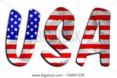 USA word with a beveled American flag texture on an isolated white background with a clipping path with and without the shadow