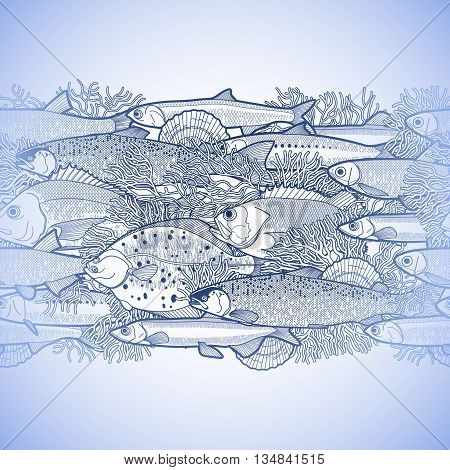 Graphic ocean fish drawn in line art style. Sea and ocean creatures for seafood menu design. Vector seamless border