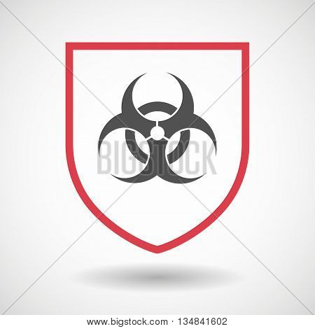 Isolated Line Art Shield Icon With A Biohazard Sign