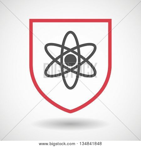 Isolated Line Art Shield Icon With An Atom
